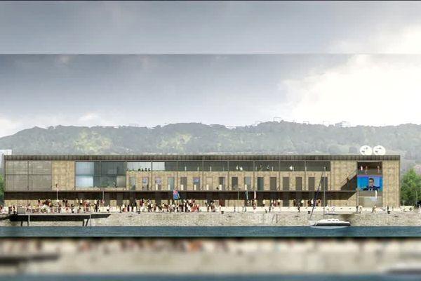 Infographie du projet architectural de la nouvelle station régionale de France 3 Normandie sur les quais de Rouen