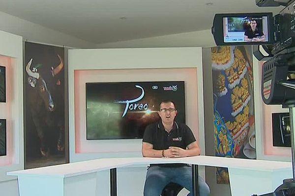 Moussac (Gard) - le nouveau studio de Toril TV, une WebTV sur la tauromachie et la bouvine - juin 2018.