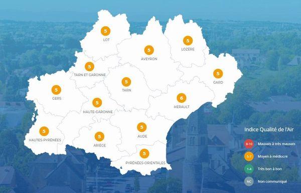 Carte du 24 juin 2020 - Air Atmo Occitanie.