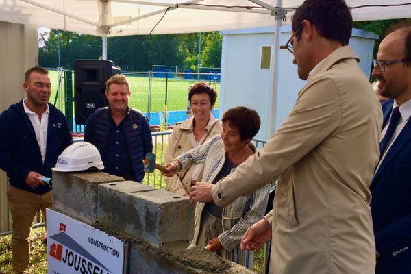 Annick Girardin, ministre de la Mer pose la première pierre de la nouvelle École de Nationale Supérieure de la Marine (ENSM) sur le campus de l'École Centrale à Nantes
