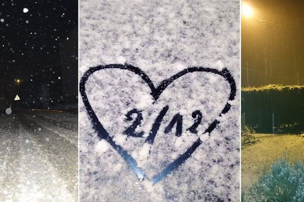 Un tout petit peu de neige dans l'Avesnois ce mardi soir.