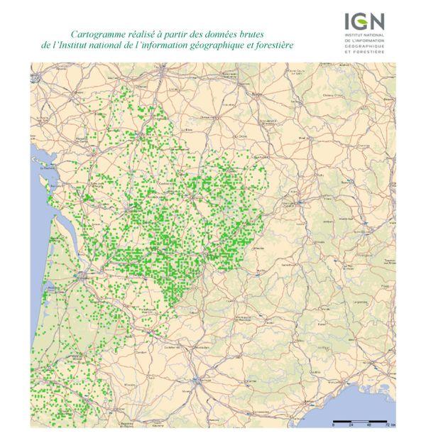 Répartition des essences de chêne en Nouvelle-Aquitaine