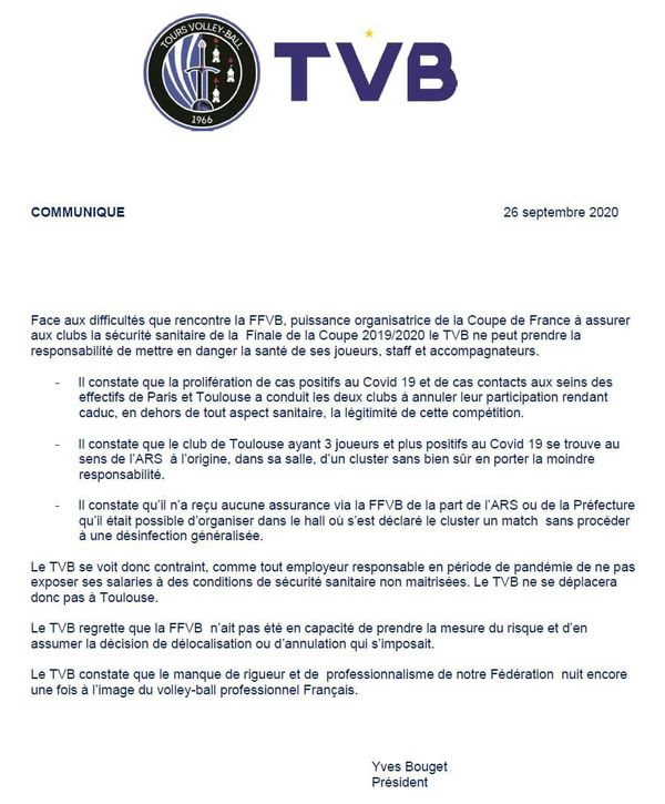 Le communiqué du TVB