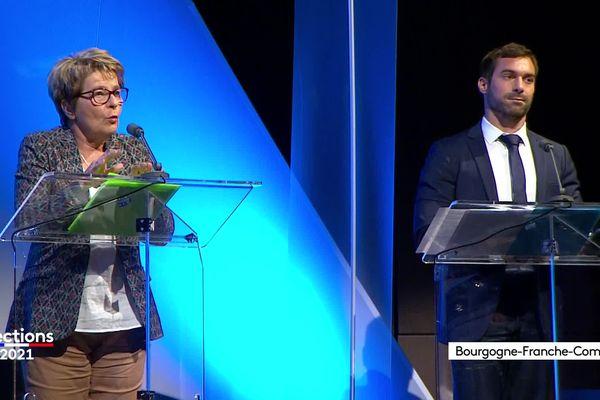 Marie-Guite Dufay, la présidente socialiste sortante et Julien Odoul, candidat du RN sur le plateau du débat de France 3.