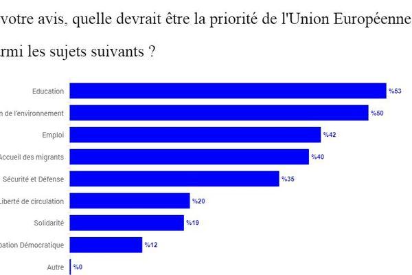 Les 15-30 ans ont été interrogés sur le sujet qui devrait être une priorité pour l'Europe.