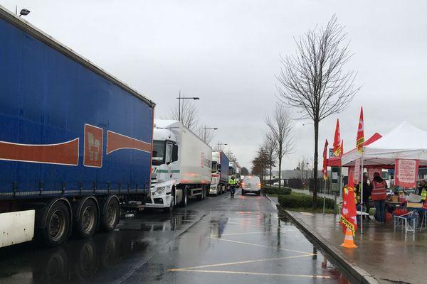 Barrage filtrant installé par les routiers, le 16 décembre 2019 à Nantes