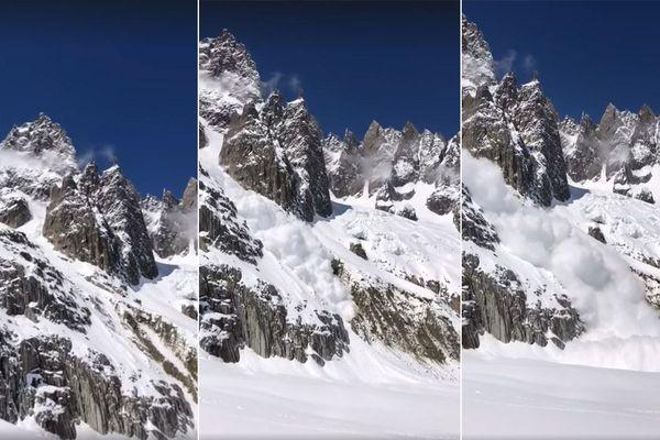 L'avalanche sous la dent du Requin dans le massif du mont Blanc en Haute-Savoie