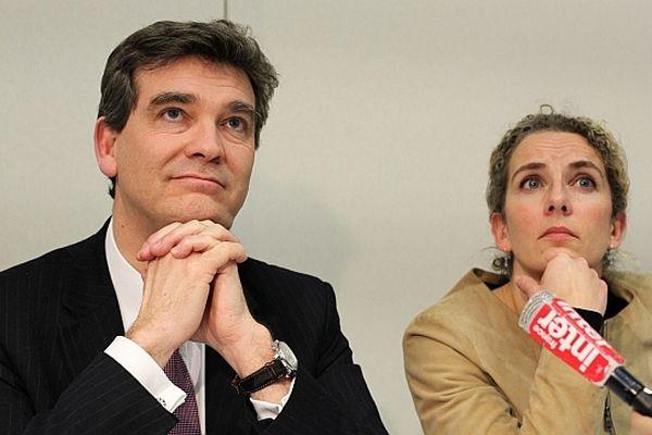 Les ministres Arnaud Montebourg (Redressement productif) et Delphine Batho (Ecologie et énergie), lors d'une visite sur le site de Valinox, à Montbard, en Côte d'Or