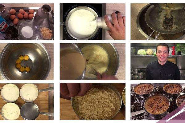 Les étapes de la recette de la crème brûlée à la chicorée