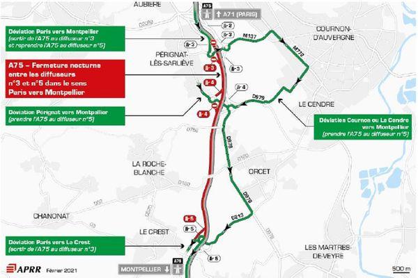 La circulation sera déviée sur l'A75 les nuits du 10 et 11 février près de Clermont-Ferrand.