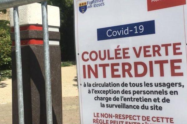 La Coulée verte, dans les Hauts-de-Seine, fermée aux cyclistes. Ici, le 20 avril 2020, à Fontenay-aux-Roses.