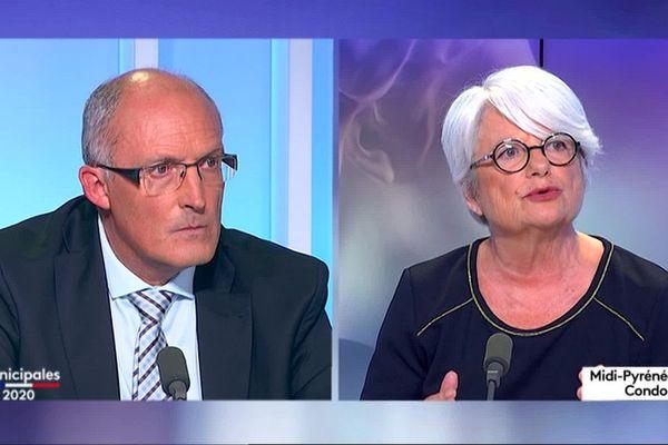 Les deux candidats au fauteuil de maire de Condom, Jean-François Rousse et Gisèle Biémouret, sur le plateau de France 3 Occitanie.