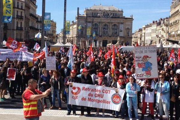 La manifestation contre la loi Travail le 9 avril 2016 place de la Comédie à Montpellier.