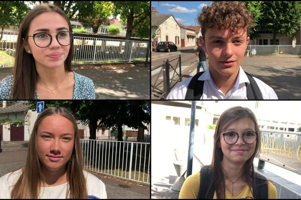 Flavie, Louis, Lou et Salomé, élèves au lycée Clos Maire de Beaune en Côte-d'Or.