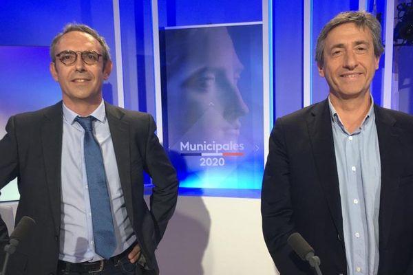 Jean-Antoine Moins et Pierre Mathonier, les 2 candidats pour l'élection municipale à Aurillac sur le plateau de France 3 Auvergne
