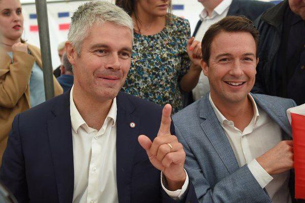 Le député du Loir-et-Cher Guillaume Peltier (à droite) avec le président du parti Les Républicains, Laurent Wauquiez