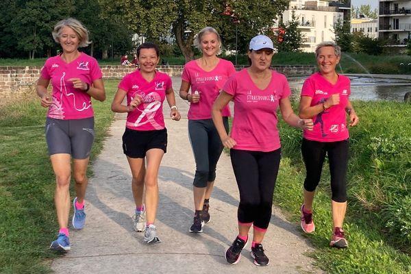 Pour Muriel, la course à pied est avant tout une histoire de partage, ici avec les précédentes marraines de la Strasbourgeoise.