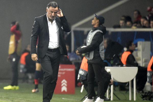 Chirstophe Galtier, entraîneur du LOSC, sur la touche du stade Pierre Mauroy le mercredi 2 octobre (Lille/Chelsea).