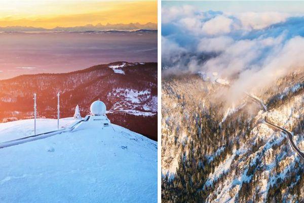 Les Vosges enneigées vues du ciel le 31 janvier 2020, des images qui pourraient se raréfier, ici au Grand Ballon et au col de la Schlucht
