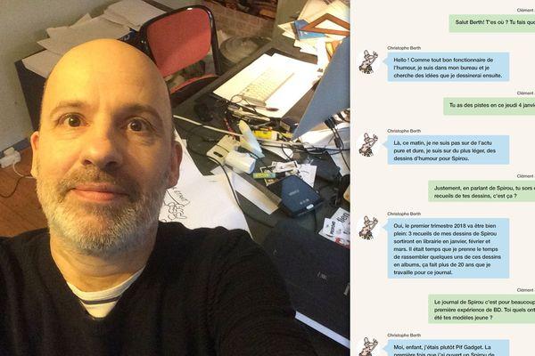 Selfie de Christophe Berth devant son bureau