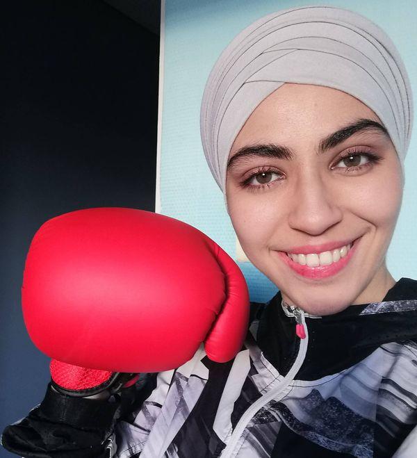 Assma prête pour son cours de boxe, le 24 septembre 2019, avant de s'y voir refusée à cause de son turban