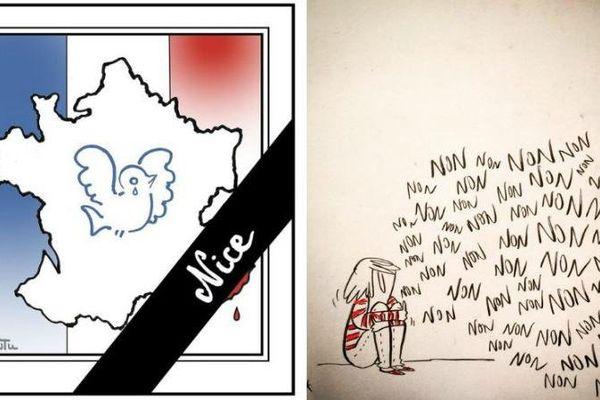 Des dessinateurs de presse ont rendu hommage aux victimes de l'attentat de Nice (Alpes-Maritimes), le 15 juillet 2016.