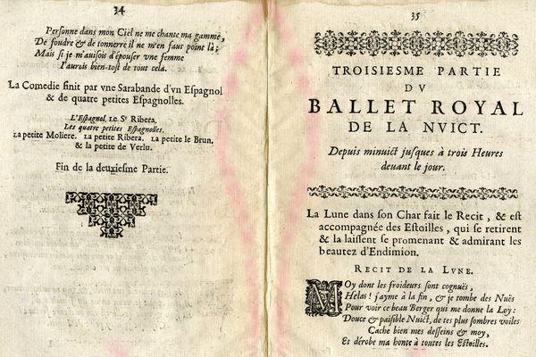 Les pages 34 et 35 du livret de ce ballet royal de la nuit qui fut dansé par Louis XIV en 1653.