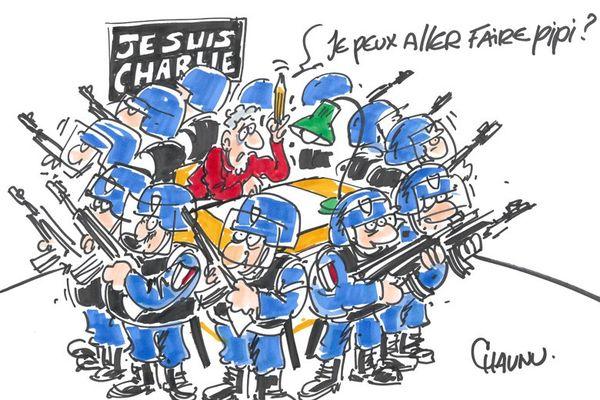 Un dessinateur de presse, deux ans près l'attentat de Charlie Hebdo, selon Chaunu