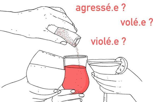 """""""Agressée, volée, violée"""", le visuel de la campagne pour faire gaffe à son verre, par Elly Oldman"""
