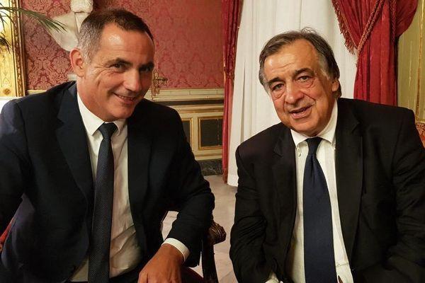 Gilles Simeoni,président du conseil exécutif de Corse et Leoluca Orlando, maire de Palerme.