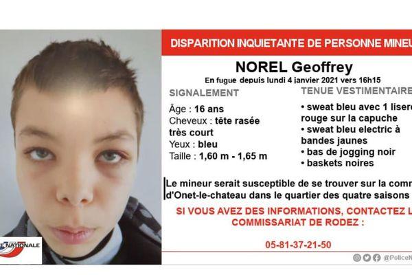 Geoffrey Norel, 16 ans, a disparu depuis lundi 4 janvier. Il pourrait se trouver dans le secteur d'Onet-le-Château