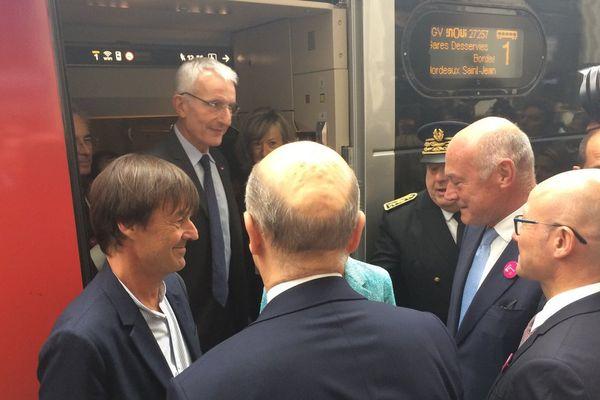 Arrivée du TGV inaugurale en gare de Bordeaux ce samedi matin