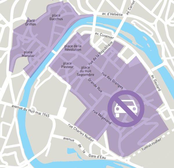 Le samedi 25 septembre, pour la Journée sans voiture, tout le secteur en violet sera fermé aux voitures de 11 heures à 21 heures.