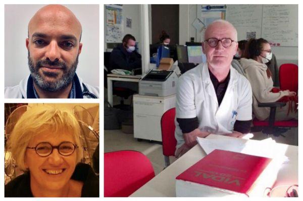 En haut, à gauche le chef des urgences de l'hôpital Mémorial de St-Lô Thomas Delomas, en bas, la cheffe du service de virologie Astrid Vabret, et à droite le professeur Eric Roupie, tous deux au CHU de Caen