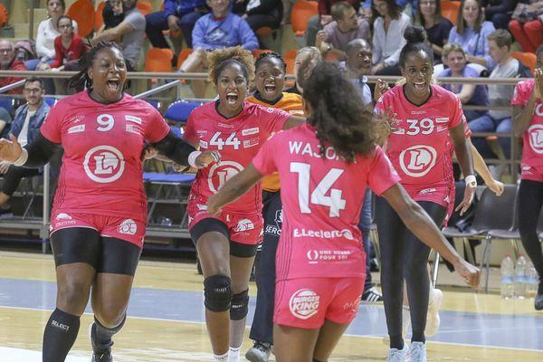 Les joueuses de Fleury Loiret Handball, ici face à Dijon en septembre 2019.