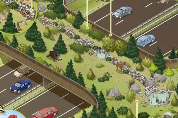 Image de synthèse du futur éco-pont qui enjambera l'A 64.