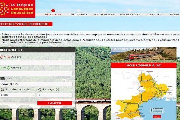 Capture du site internet : www.train1euro.fr