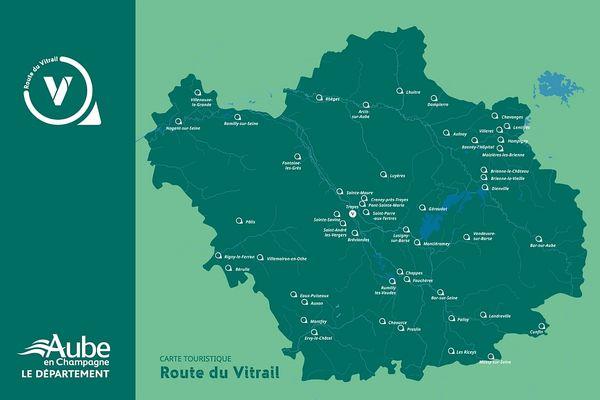 """La carte de la """"Route du Vitrail""""."""