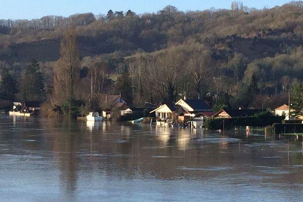 Crue de la Seine à Saint-Pierre du Vauvray (Eure) le 26 janvier 2018