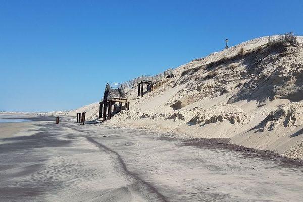 L'un des accès à la plage de Biscarosse, le 24 mars 2020
