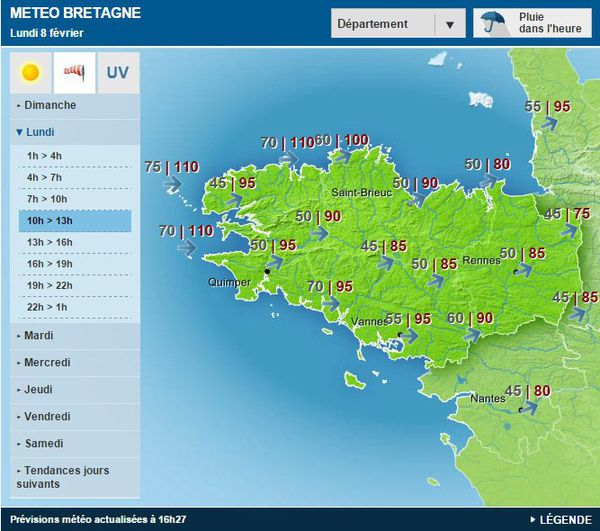 Carte météo Bretagne lundi 8 février