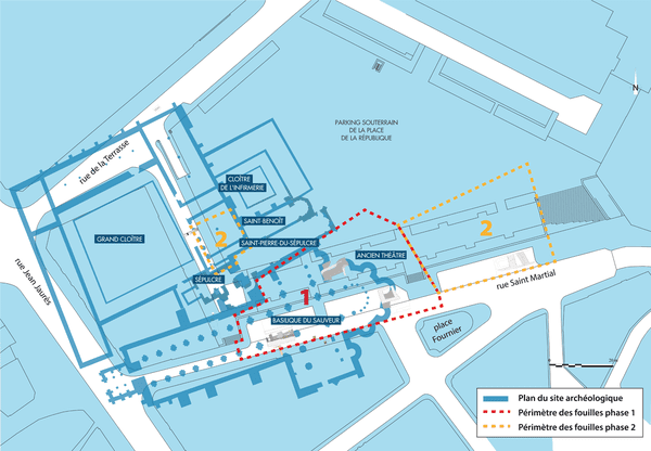 Plan des fouilles archéologiques en 2 phases (cliquez sur l'image pour agrandir).