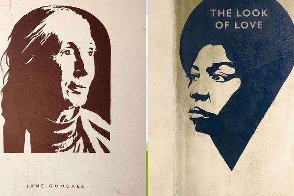 Les pochoirs de Fox in Trouville. Deux femmes puissante Jane Goodall et Nina Simone