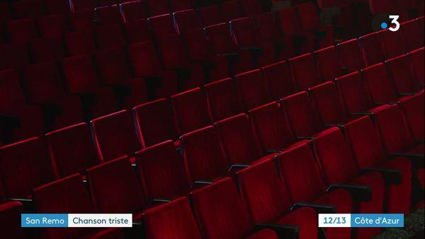Les sièges vides du théâtre Ariston de San Remo.