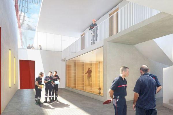 Intérieur du futur bâtiment du SDIS à Sainte-Savine
