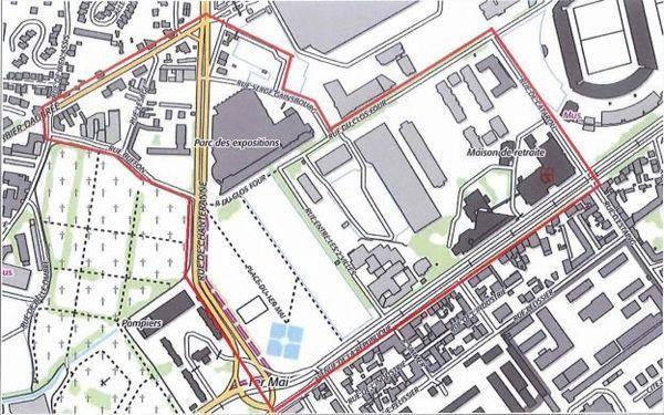 En rouge est défini le périmètre d'interdiction de manifestation sur la voie publique.