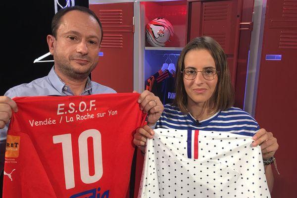 Ilona Pierre-Jean, joueuse ESOF La-Roche-sur-Yon au côté de David Jouillat pour l'émission #USBFOOT