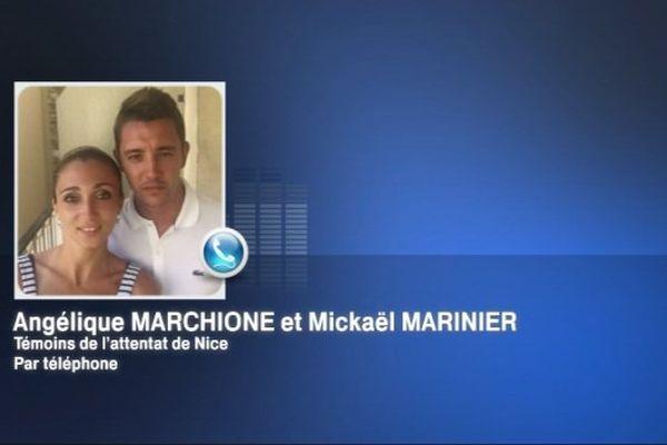 Angélique Marchione et Mickaël Marinier se trouvaient à Nice lorsque l'attentat a eu lieu après le feu d'artifice, jeudi 14 juillet 2016.