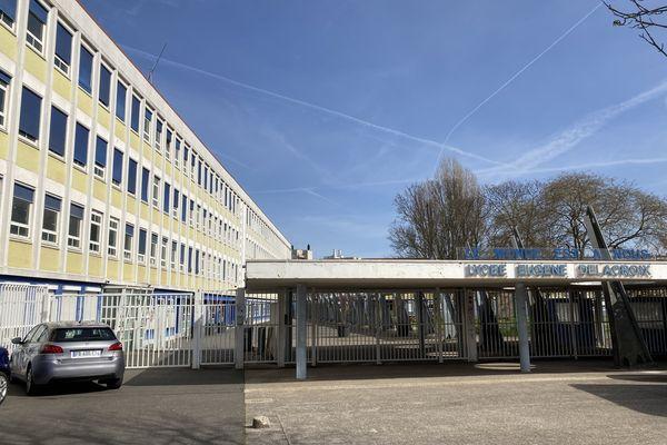 L'entrée principale du lycée Eugène Delacroix de Drancy, en Seine-Saint-Denis. Crédit photo Frédérique Hovasse / France 3 PIDF