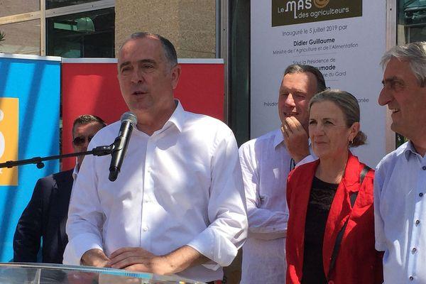 Nîmes - Le ministre de l'Agriculture Didier Guillaume en visite dans le Gard dit vouloir réformer le système d'assurance des agriculteurs - 5 juillet 2019.